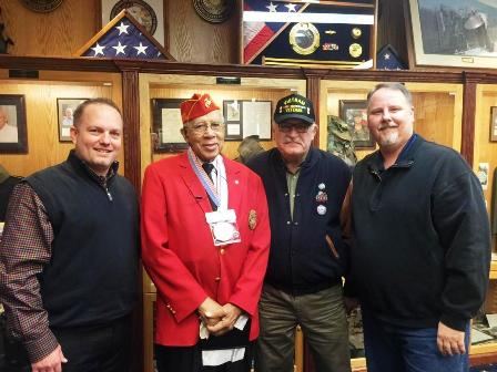 Calvin Shepherd visiting the Taylor Veterans Museum along with Tim Woolley, Rick Sollars, and Jack M