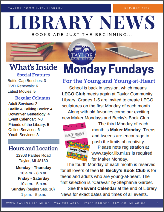 Front page of library news