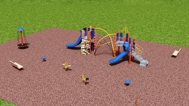 A digital model of a planned playground area.